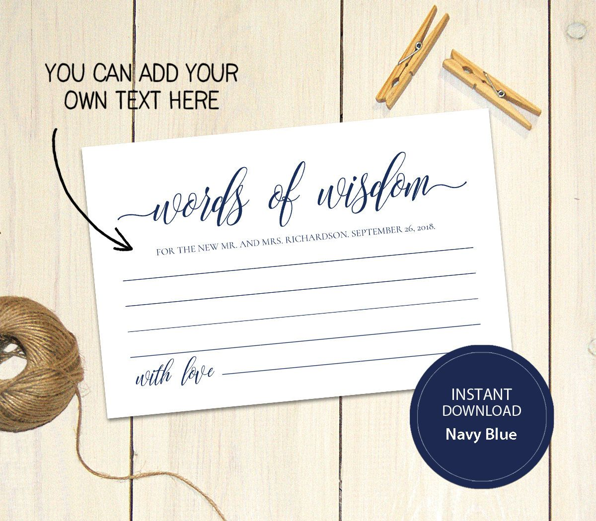 Pdf Template 4x6 Words Of Wisdom Card Instant Download Navy Etsy Wedding Advice Cards Advice Cards Wedding Advice