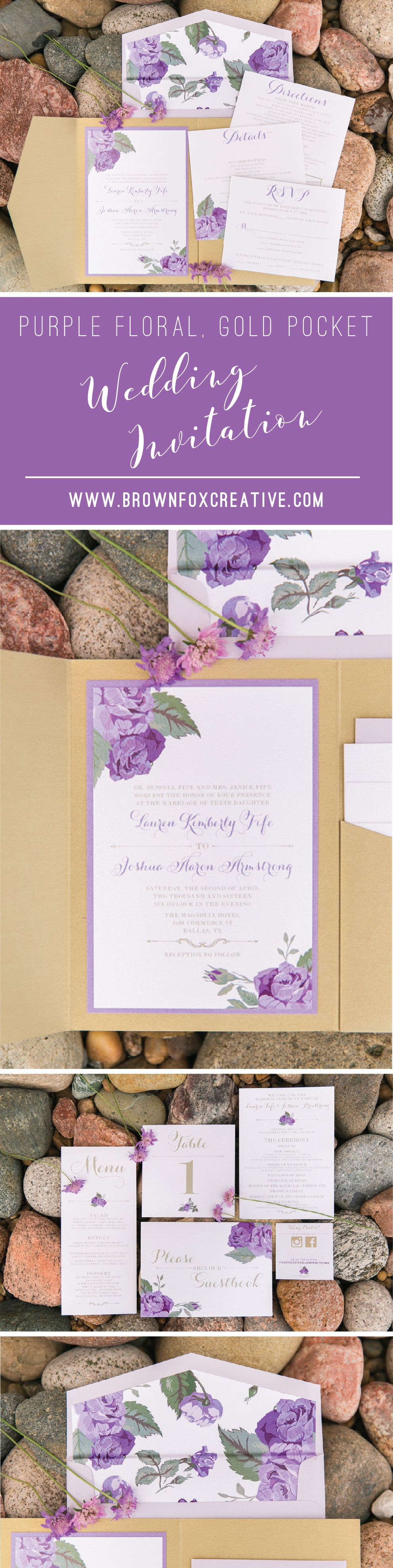 5x7 gold pocket wedding invitation with florals roses in shades of