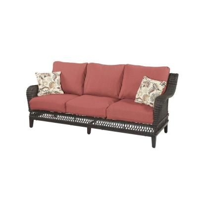 Hampton Bay Woodbury Wicker Outdoor Patio Sofa With Chili