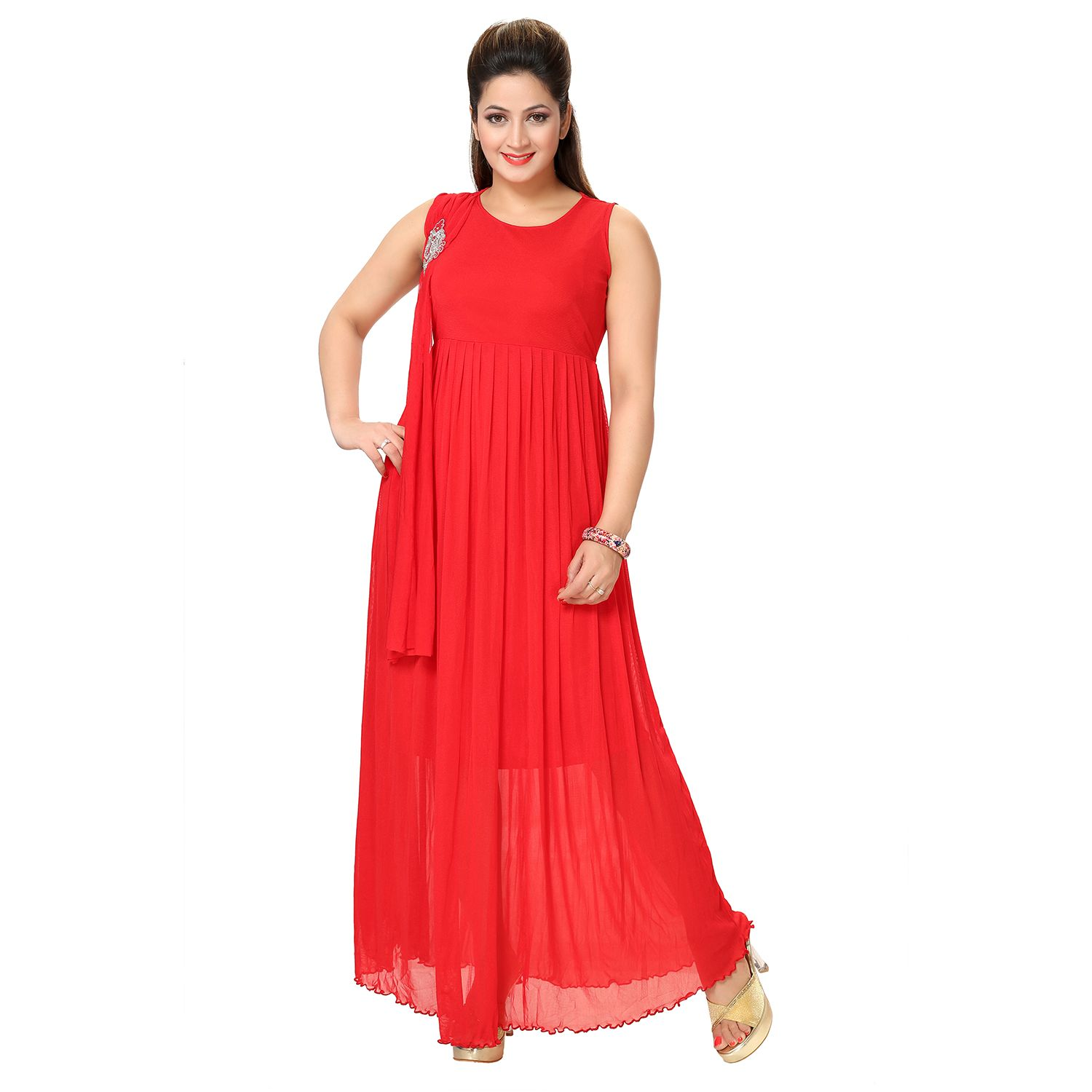 Buy kaira womens western long dress red at lowest price