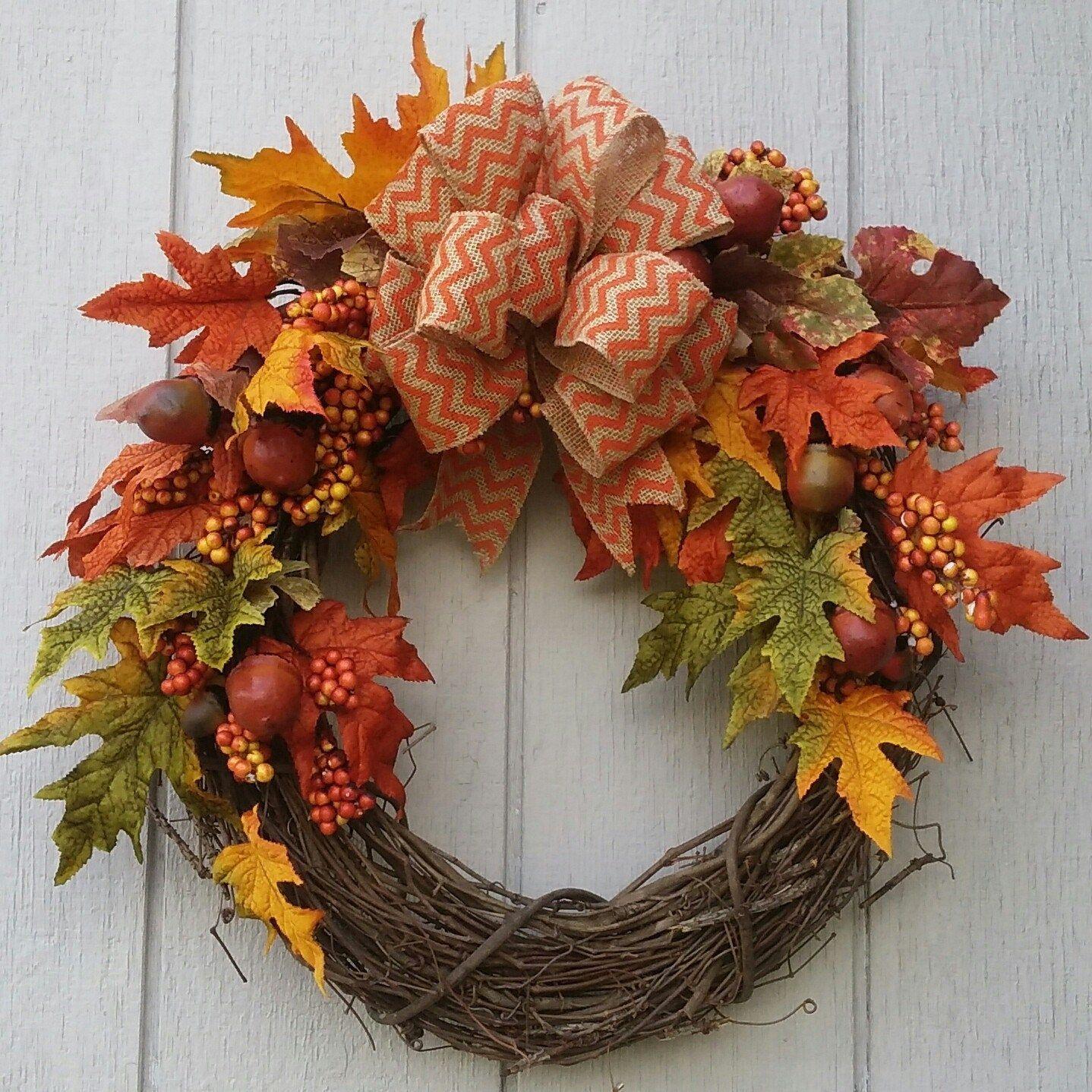 Photo of Autumn grapevine wreath with burlap orange chevron, leaf print or moss green ribbon acorns berries autumn leaves oranges yellow red green