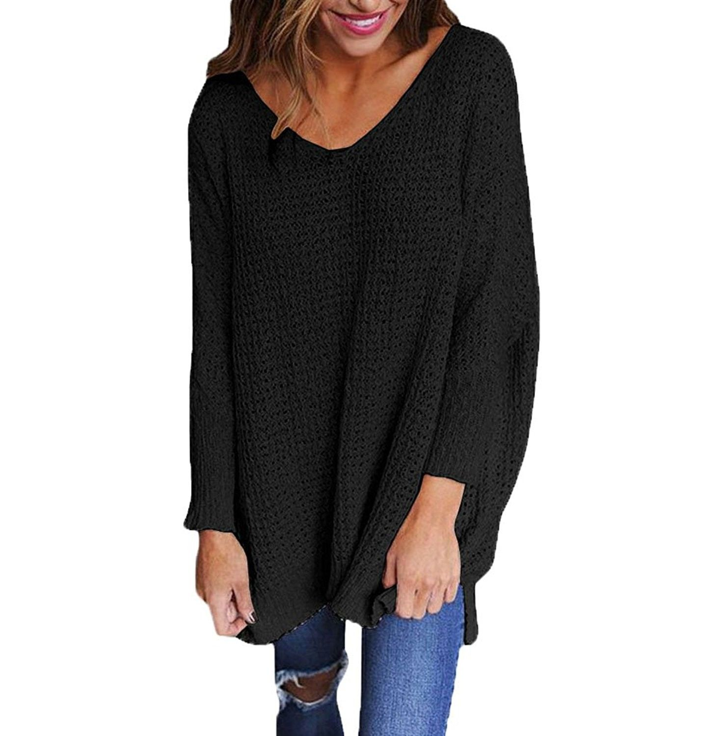 Womens Long Sleeve Sweater Blouse Ladies Oversized Knit Jumper Pullover Tops