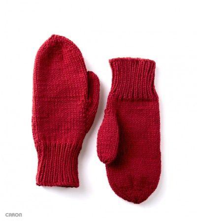 Caron Basic Family Knit Mittens, Knit Pattern | Yarnspirations | Dos ...