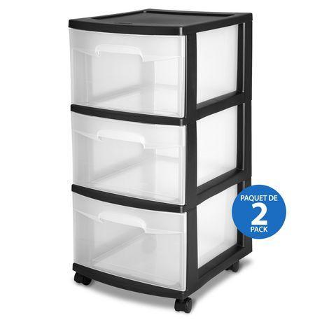 Sterilite 3 Drawer Cart Black 2pk Black Plastic Storage