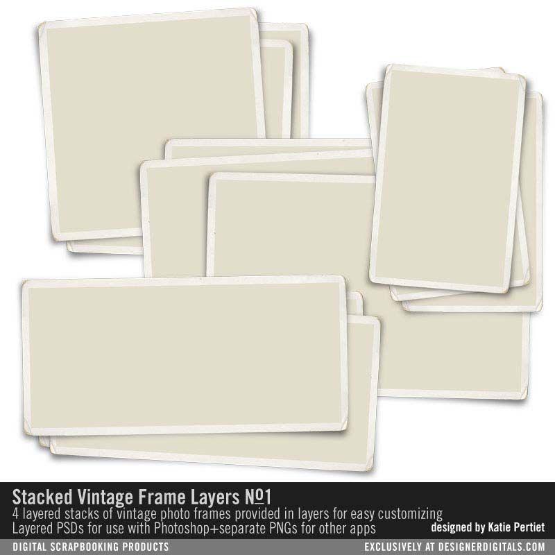 Stacked Vintage Frame Layers No 01 Psd Files For Easy Customizing Designerdigitals Vintage Photo Frames Digital Scrapbooking Vintage Frames