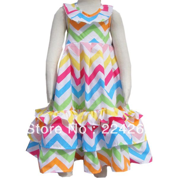 New Arrive 2014 Summer Cotton baby chevron dress US $15.50