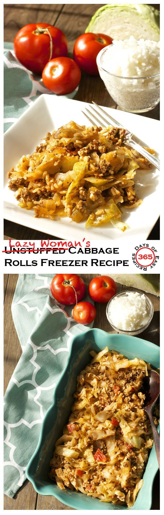 These Unstuffed (aka Lazy Woman's) Cabbage Rolls are a super Easy Freezer Meal Recipe that's healthy and nutritious | 365 Days of Easy Recipes