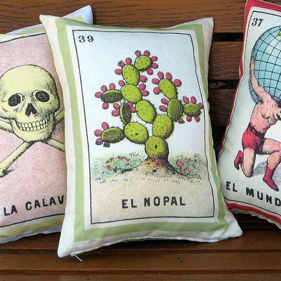 El Nopal Vintage Loteria Cactus Pillow Cover circa 1920 #homedecorating #cactusdecor