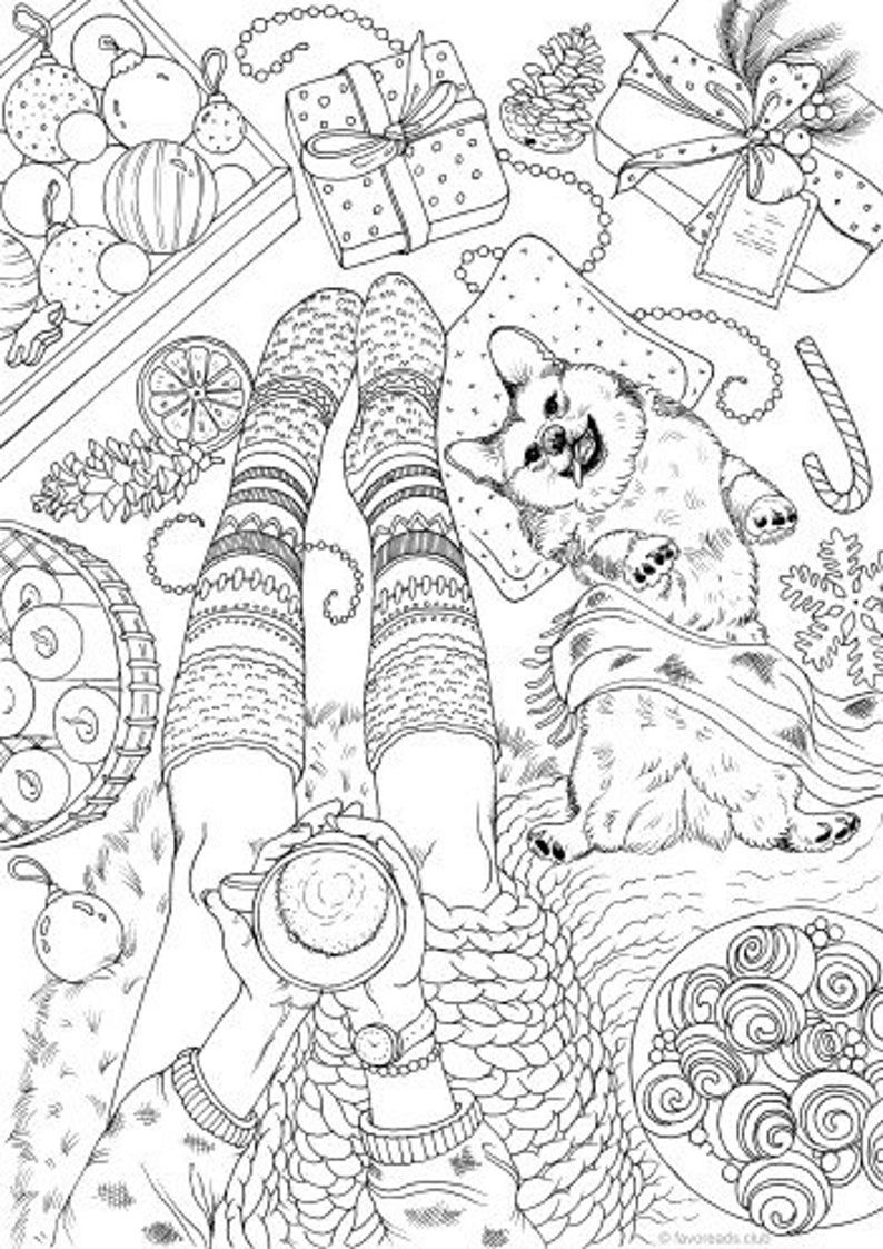 Cozy Scene - Printable Adult Coloring Page from Favoreads (Coloring book pages for adults and kids, Coloring sheets, Colouring designs)