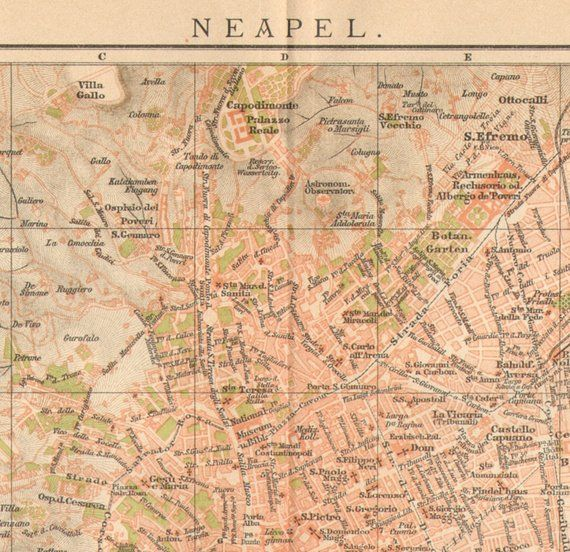 1897 Original Antique Dated City Map of Naples, Italy in 2018 ...