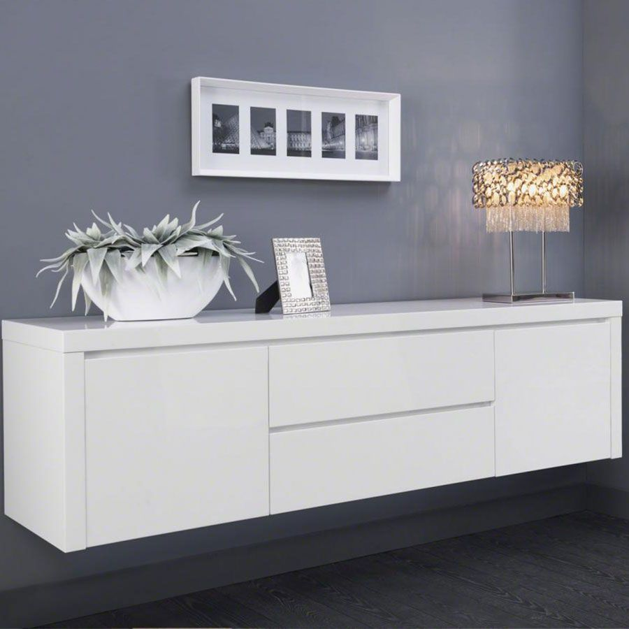 Buffet bahut suspendu blanc laqu design tyler deco for Meuble suspendu salle a manger