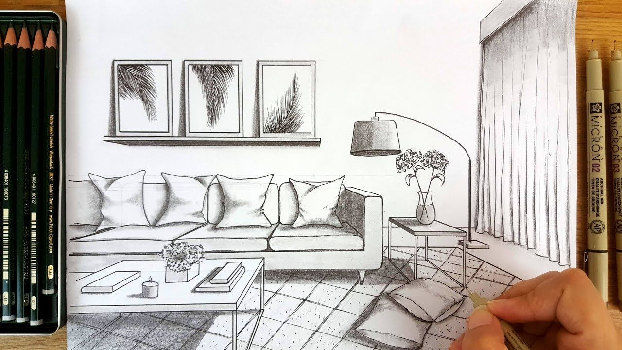 Drawing A Modern Living Room In One Point Perspective Timelapse