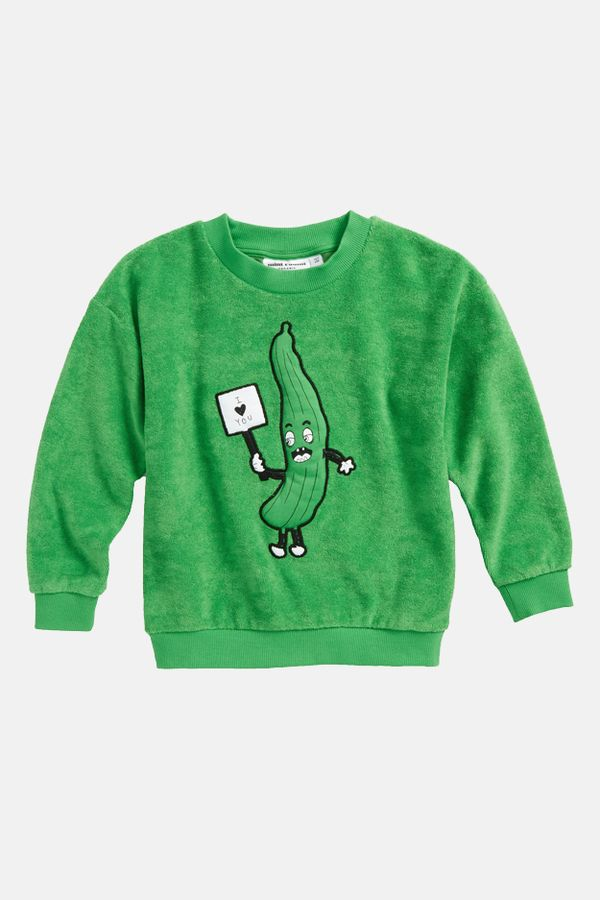 A vibrant cucumber graphic adds a playful effect to this ethically responsible organic cotton sweatshirt.   - color: green   - 80% organic cotton 20% recycled polyester   - gots certified for sustainability   - imported - machine wash cold