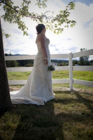 White fence, lace bridal gown, Captured Essence photography