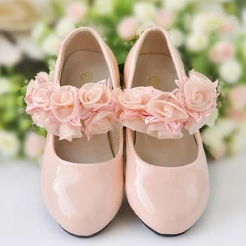 Ivory Ore Pink Princess Girls Leather Shoes With Hand Made Flowers Conformable Kids Children Sandals 2015 In Stock Dress For Wedding