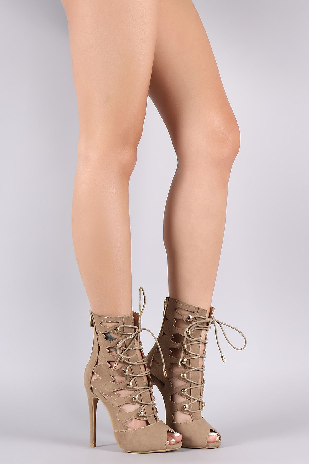d8daced6652 Cutout Lace-Up Stiletto Booties