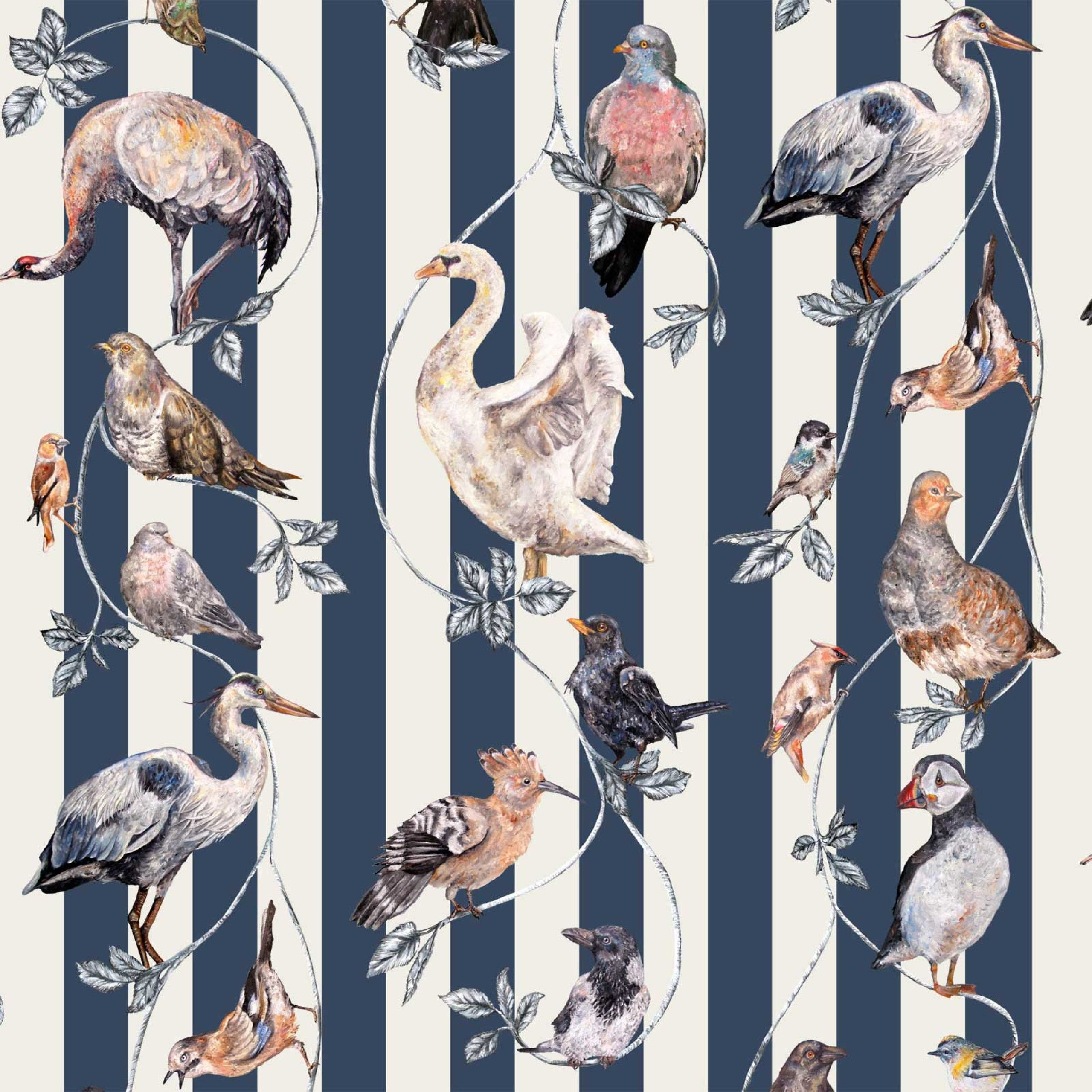 FLIGHTS OF FANCY Wallpaper Pitch Blue Stripe