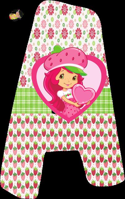 Alfabeto de Strawberry Shortcake con fresas y flores.