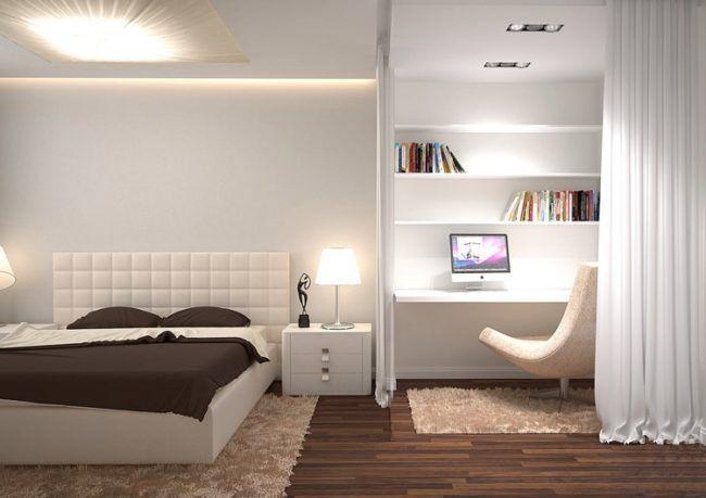 Schlafzimmer Weiss Braun Modern Beleuchtung Arbeitsbereich