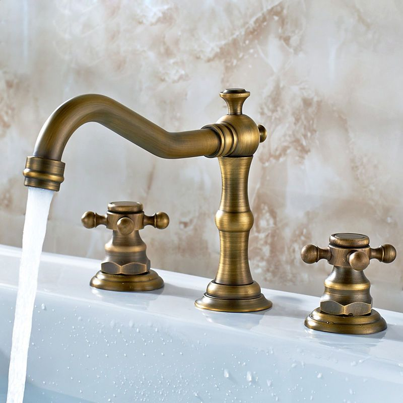 Modern 3 Hole Basin Mixer Tap Facuet In Antique Brass Finished