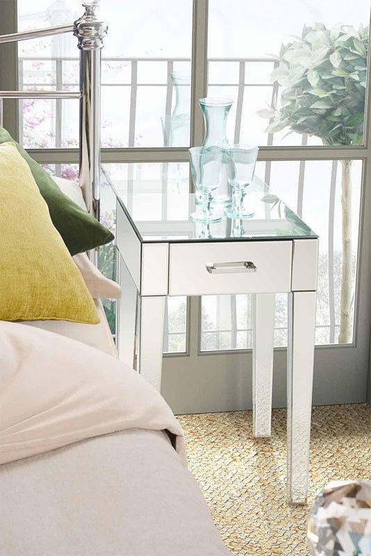 Mirrored Bedside Table With Drawers: ZOE Mirrored Bedside Lamp Table With Single Drawer