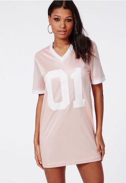 6a09a4c91223 Satin Number 1 Basketball T-Shirt Dress Pink - Dresses - T-Shirt Dresses -  Missguided
