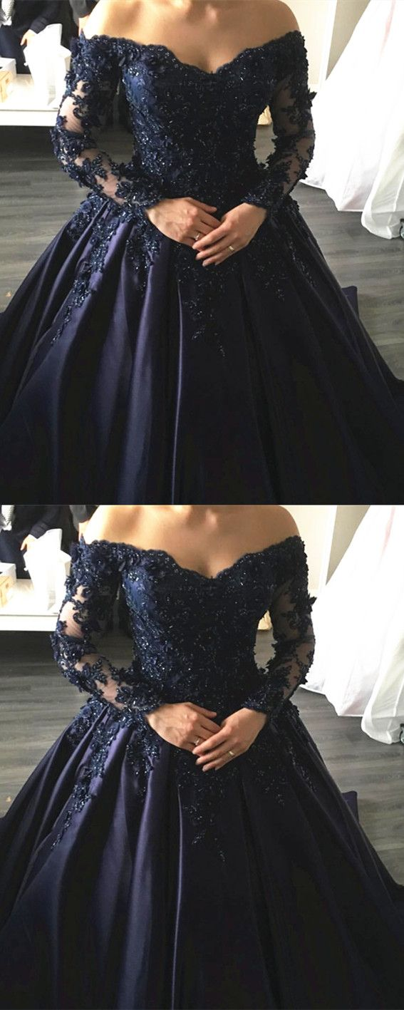 Navy blue lace appliques long sleeves ball gowns wedding dresses off
