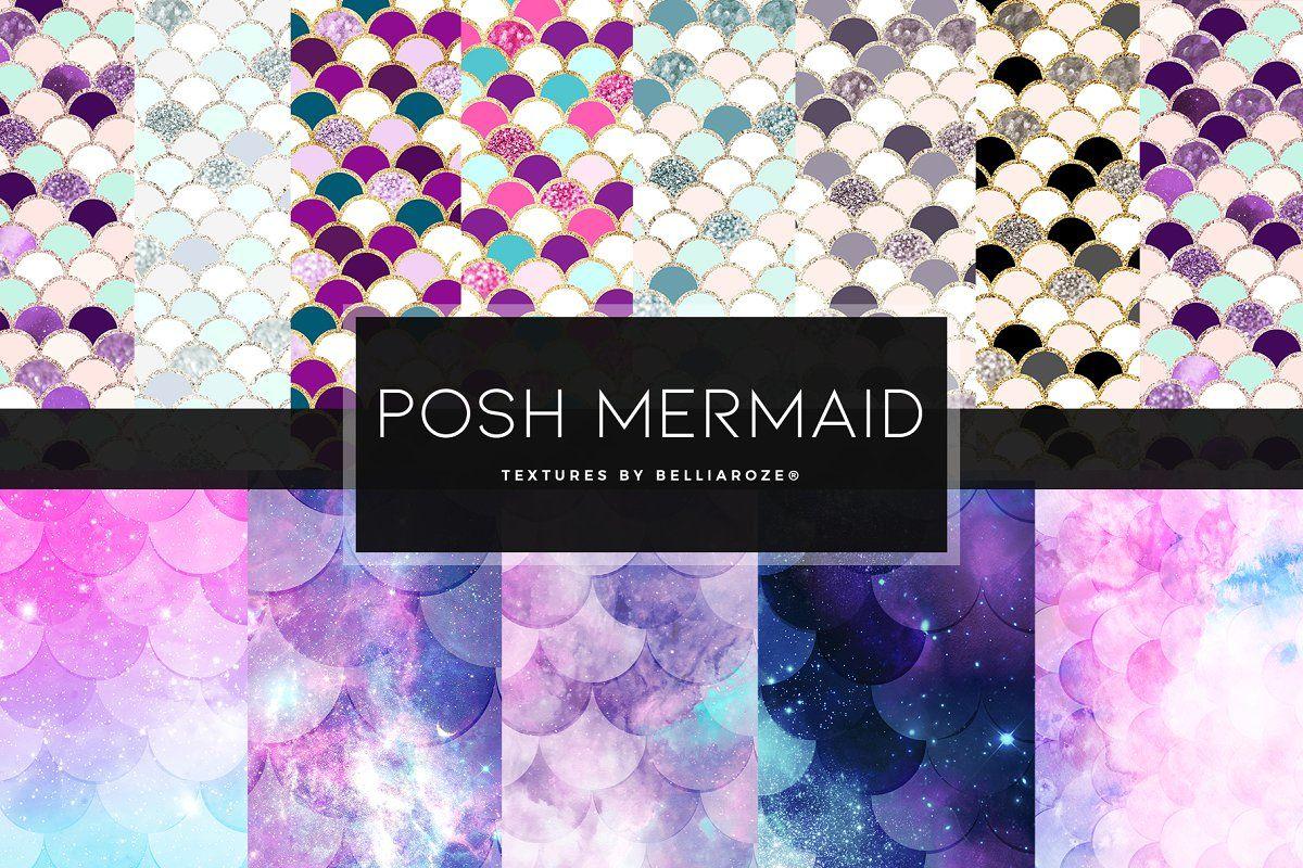 Posh Mermaid Scales Digital Paper Sponsored Affiliate
