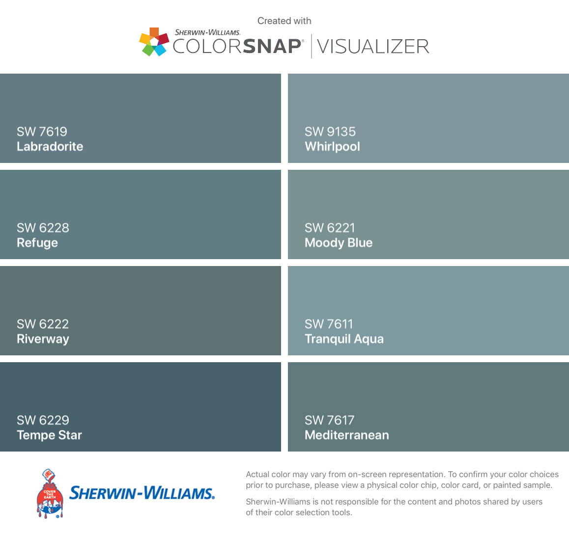 I Found These Colors With Colorsnap Visualizer For Iphone By Sherwin Williams Sherwin Williams Blue Paint Sherwin Williams Paint Colors Sherwin William Paint