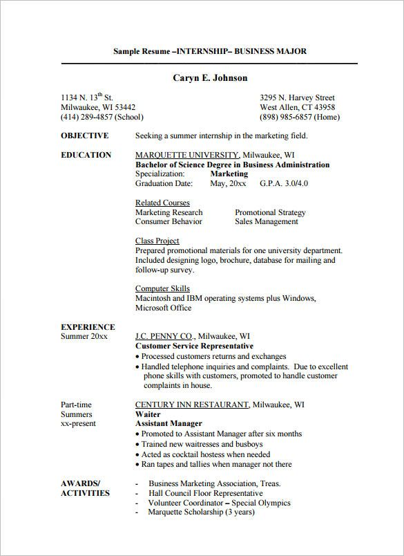 Marketing Intern Resume How To Write An Intern Resume  Experts' Opinions  Gamberger