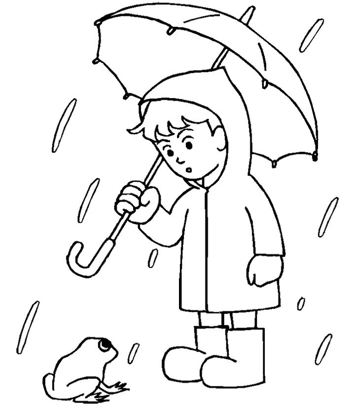 Boy With His Umbrella And Rain Jacket Under The Spring Rain