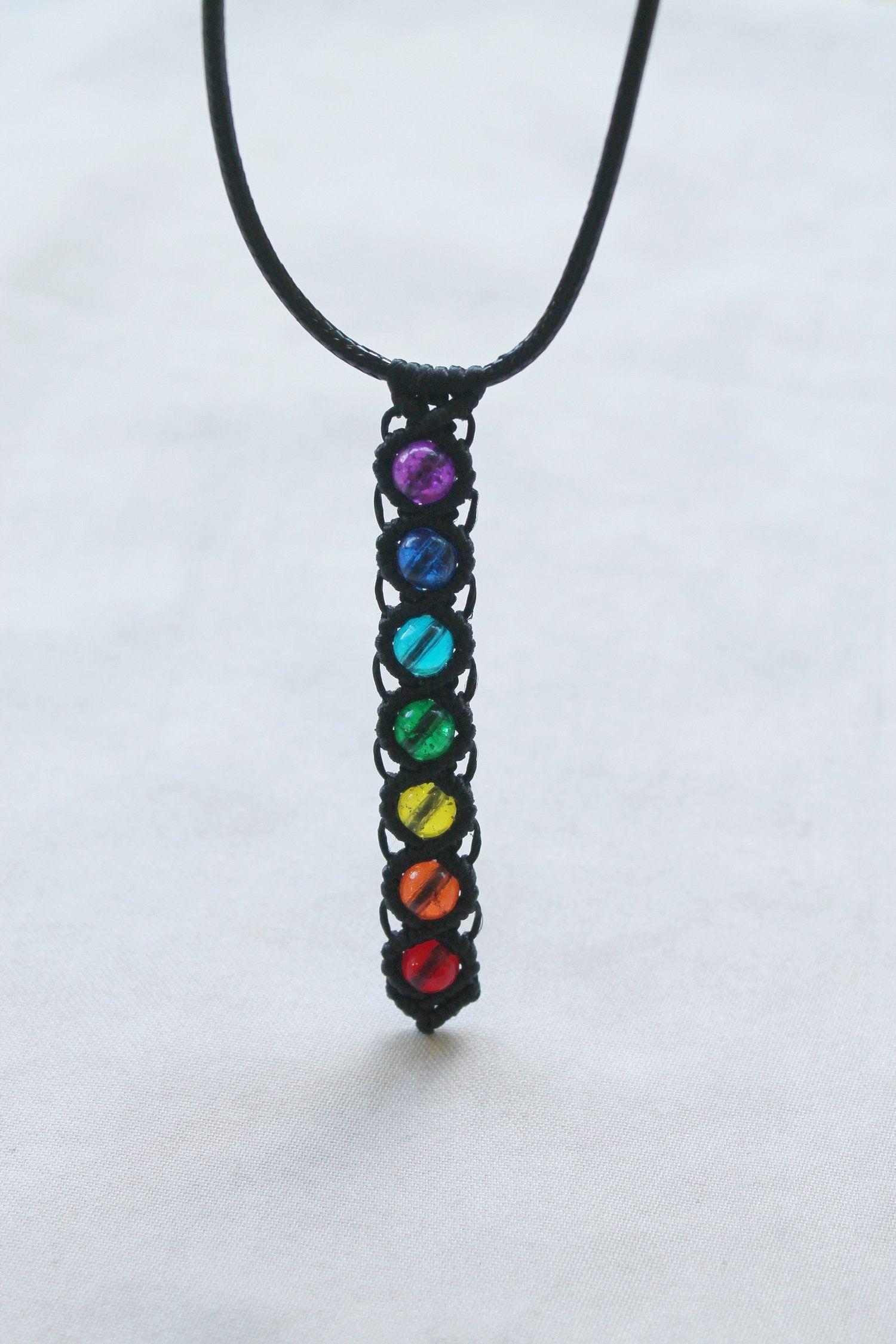 7 Chakra Necklace seven chakra pendant dreamcatcher necklace rainbow necklace yoga necklace Meditation Necklace chakra jewelry reiki jewelry