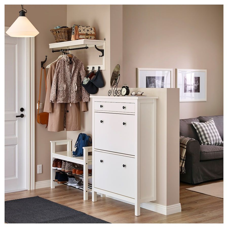 Flurbank Ikea Hemnes Shoe Cabinet With 2 Compartments, White, 35x50\