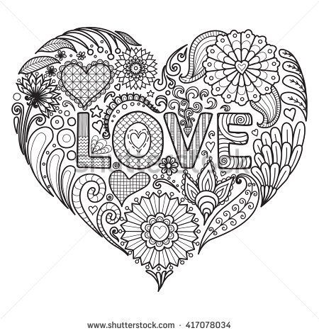 Heart on flowers for coloring books for adult , cards, T