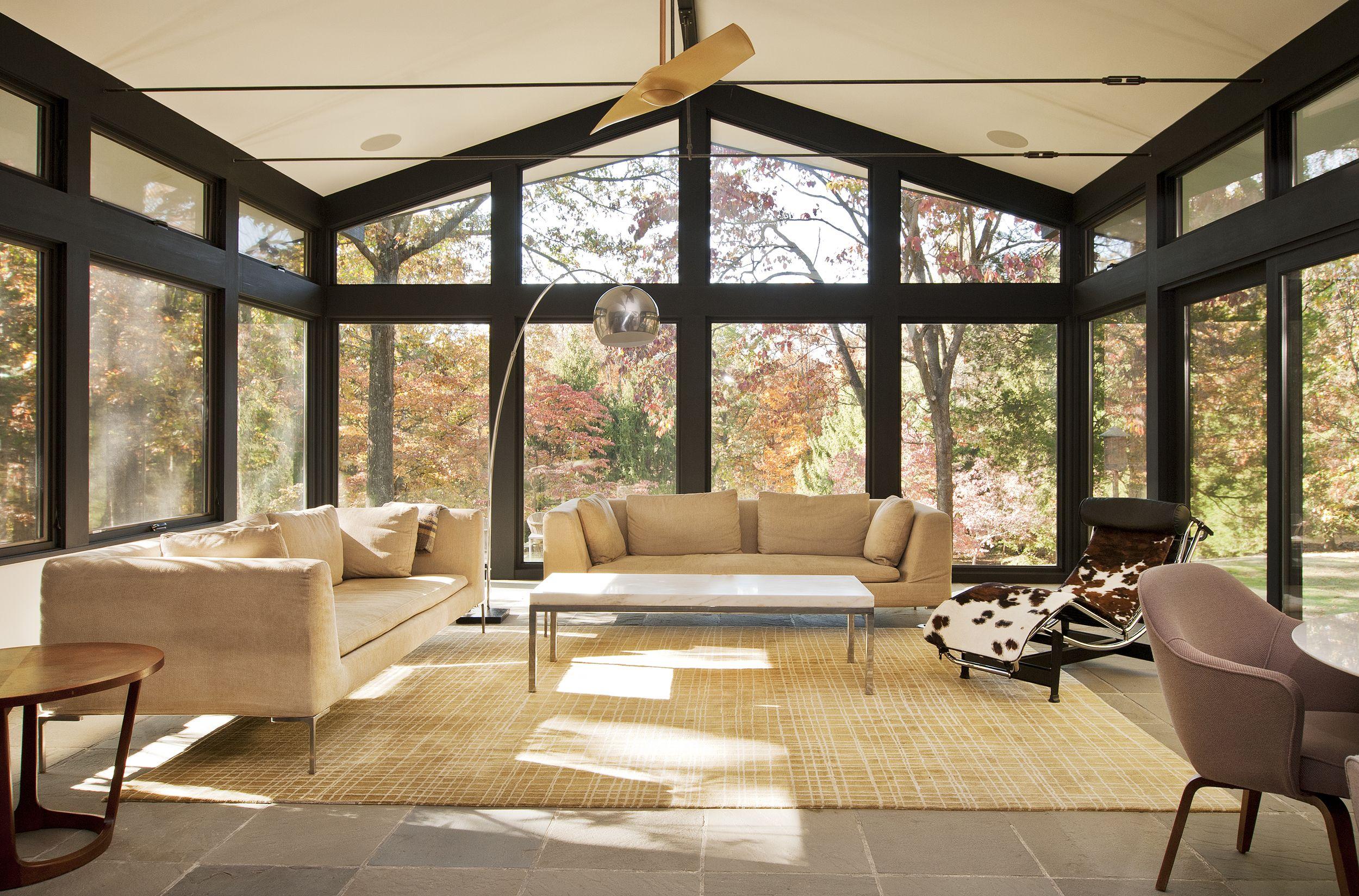 Mid Century Sunroom Black Trim And Catskill Bluestone Floors