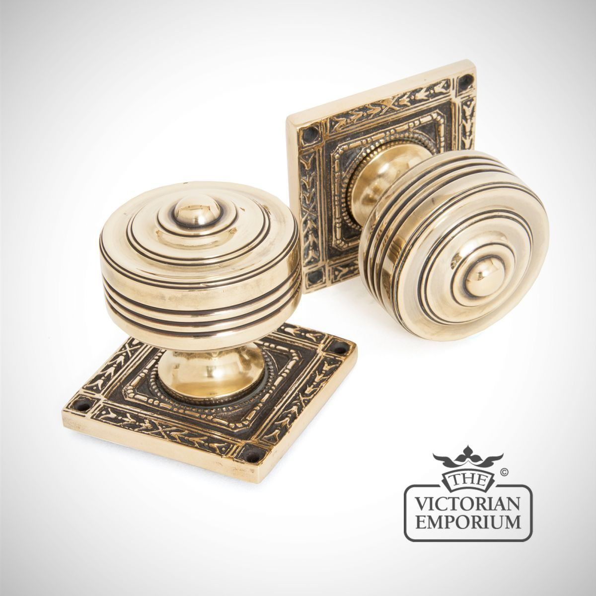 Square Highly Decorative Mortice Knob Set In Aged Brass   Door Knobs And Door  Handles