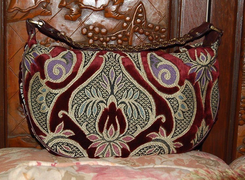 Maxx New York Handbag Burgundy Velvet & Multi Color Tapestry Large Shoulder…