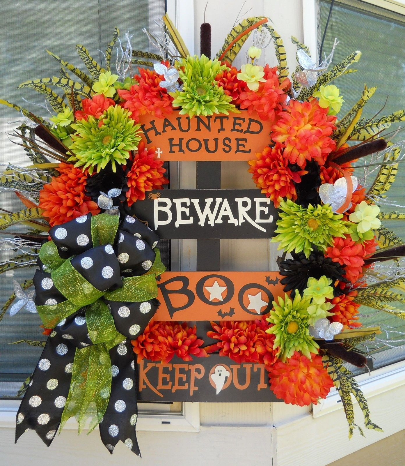Halloween Fall Wreath Lime Green Orange Black Sign Halloween - fall and halloween decorations
