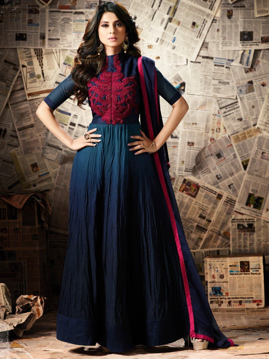 Buy Jennifer Winget Blue Color Georgette Party Wear Anarkali Kameez In Uk Usa And Canada Indian Wedding Dress Designers Long Anarkali Gown Designer Dresses Indian