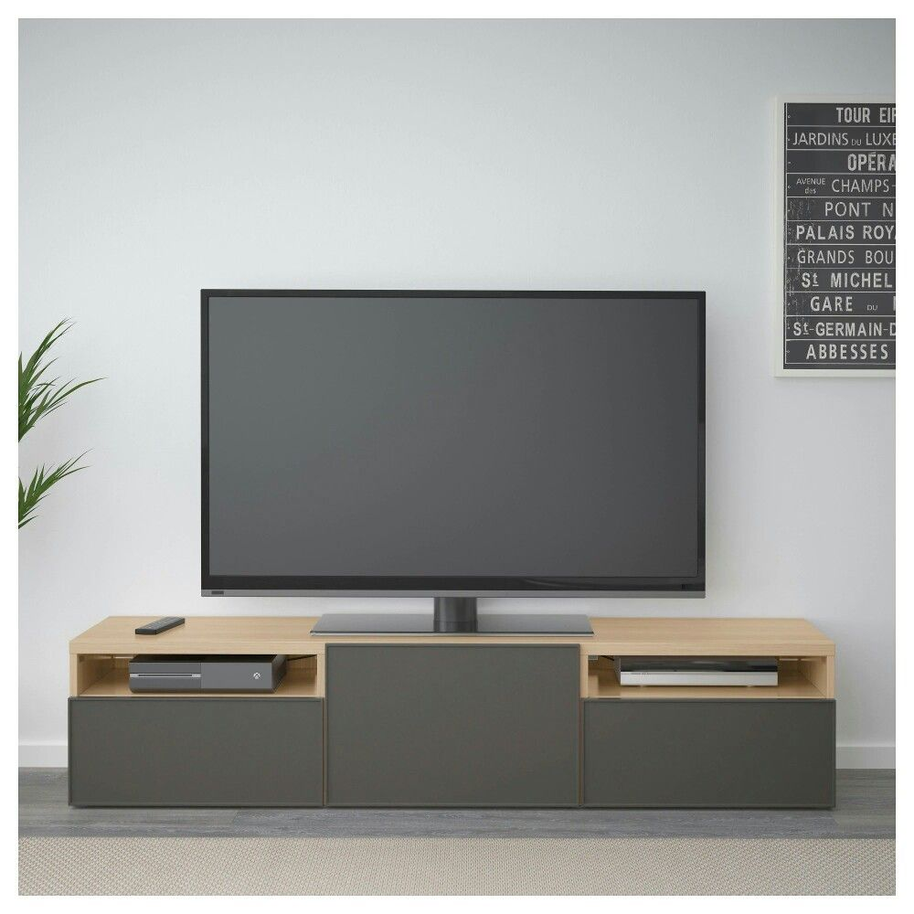 Ikea Besta Banc Tv Effet Chene Blanchi Grundsviken Gris Fonce 190 Salon Marron Meuble Tele Ikea