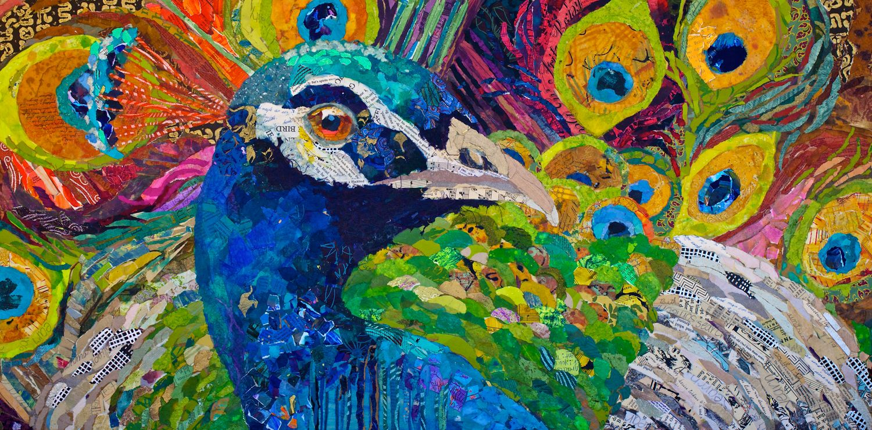 Paper painting peacock special art medium of elizabeth