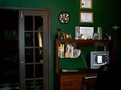 Dark Green Walls Office Ourhouse study in front room ideas for