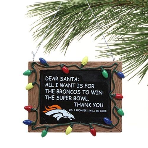 Denver Broncos Chalkboard Sign Ornament