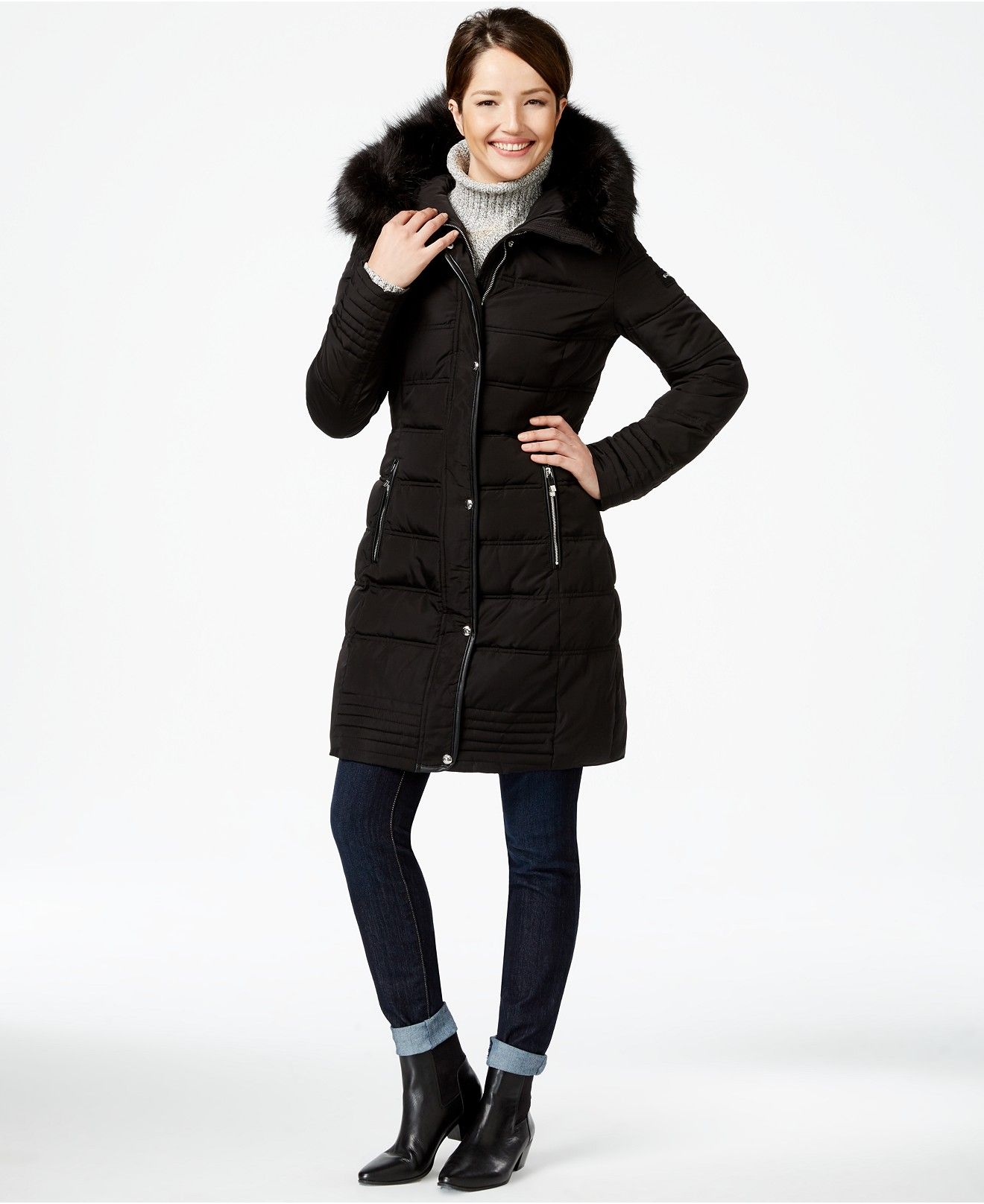 289c7cf157c Calvin Klein Faux-Fur-Trim Long Puffer Coat - Coats - Women - Macy's ...