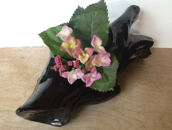 Vintage Low Planter  Black Ceramic Driftwood by FourthEstateSale, $19.00