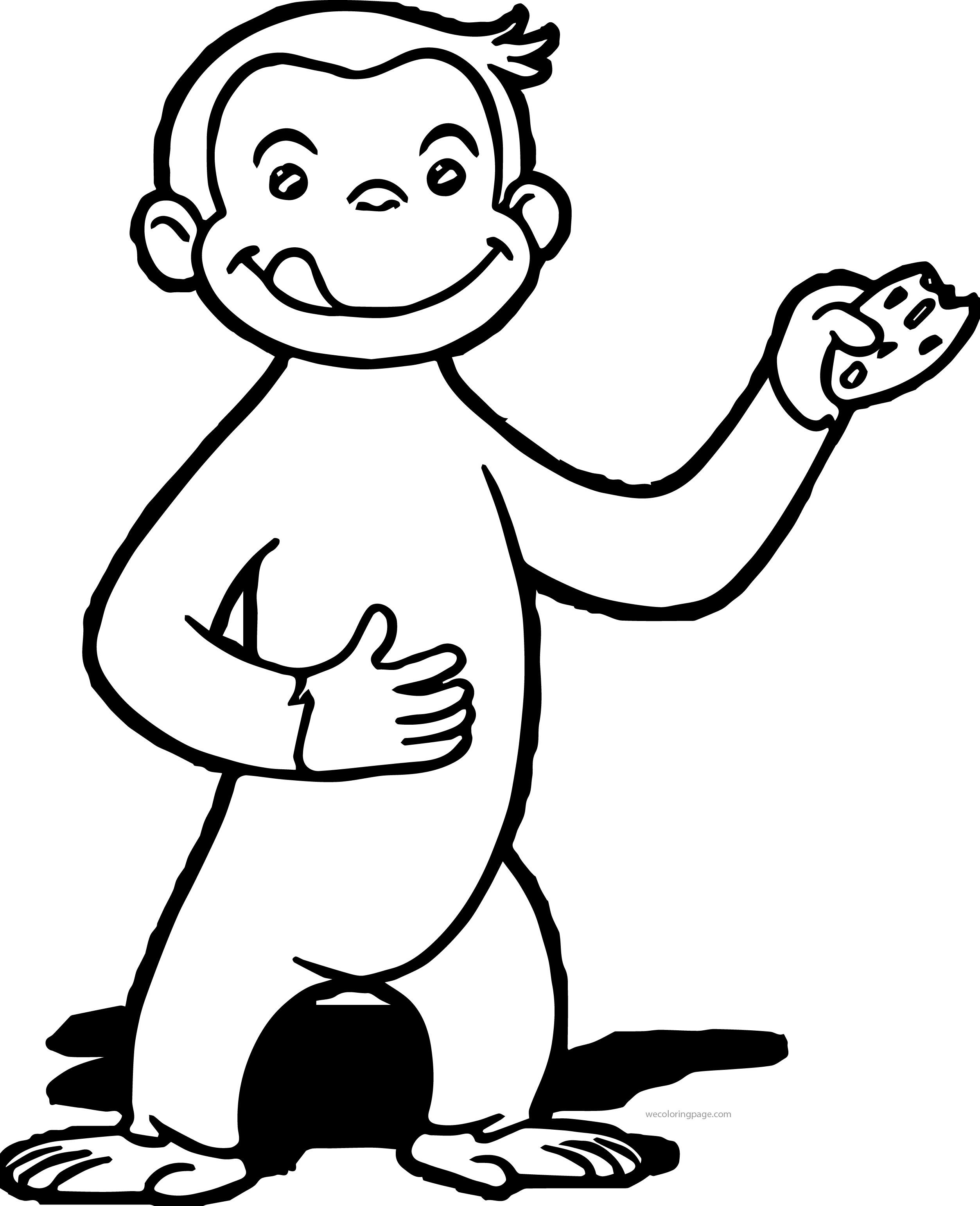 Nice Curious George Eating Cookie Coloring Page