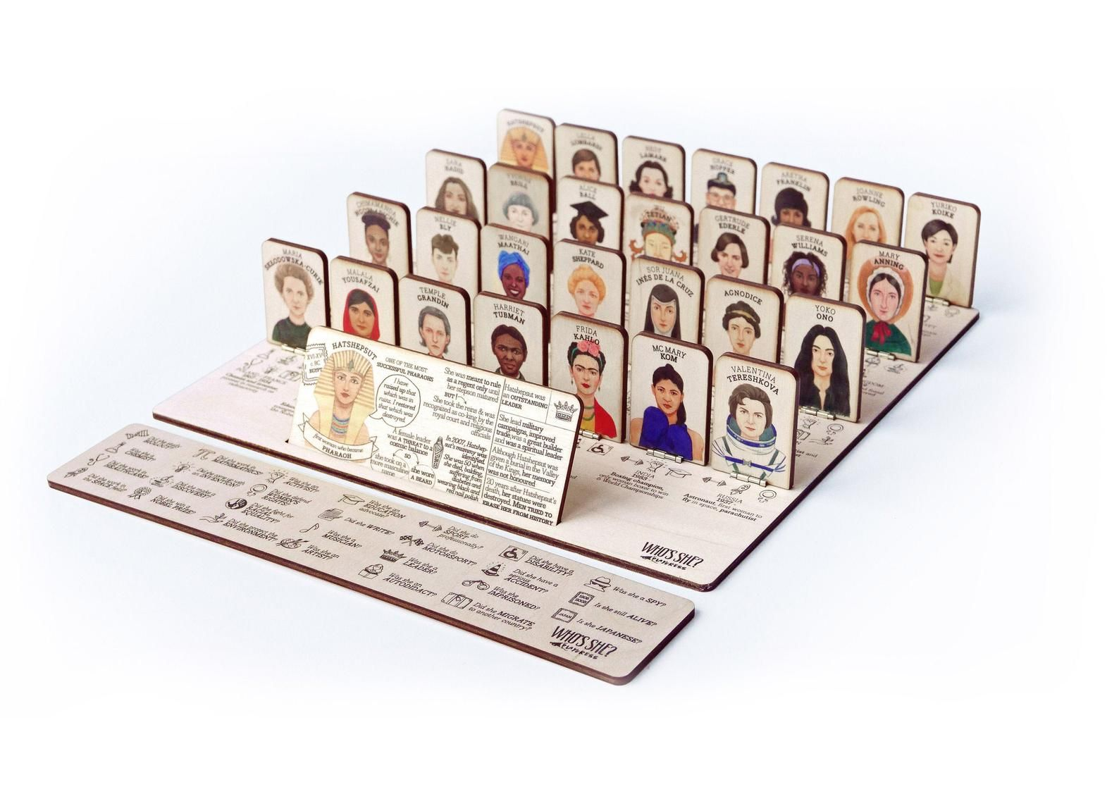 WHO'S SHE wooden board game about women who changed the