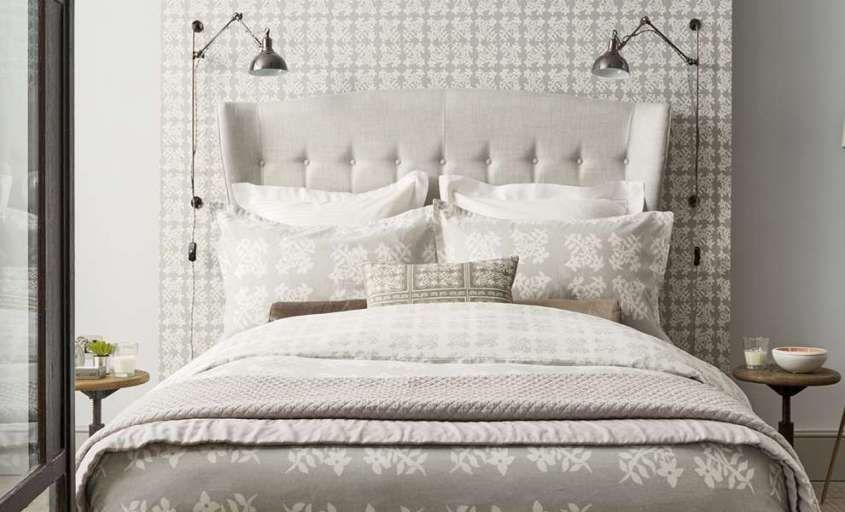 camera da letto color tortora - Biancheria letto color tortora e bianco