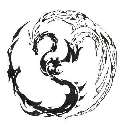 Explorez Tatouage Dotwork et plus encore ! tribal dragon yin/yang