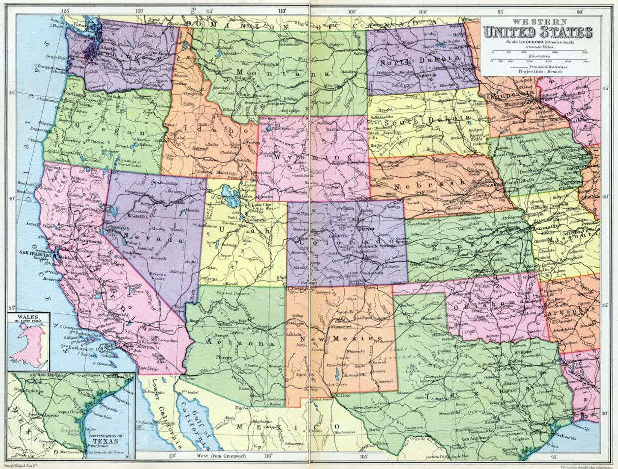 Western Us Driving Map Western United States Public Domain